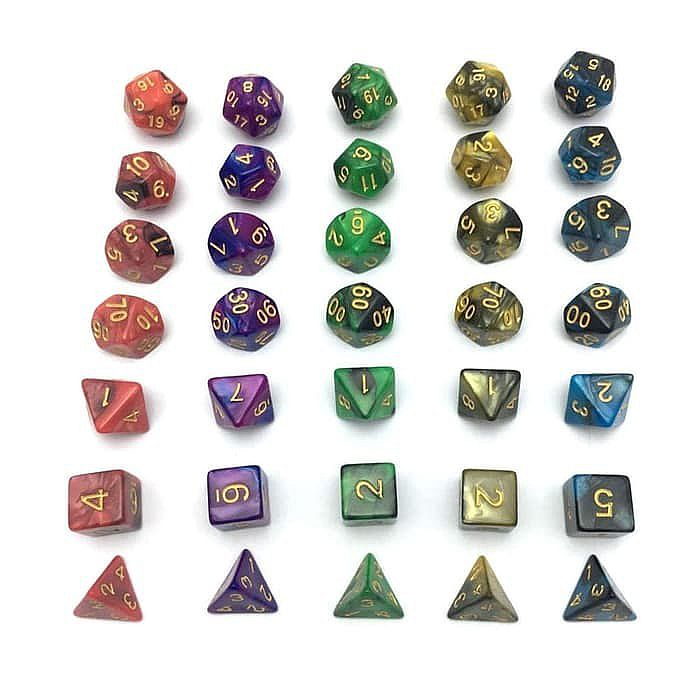 High Quality RPG Dice Set - 7 Pieces + Dice Pouch - Dadu RPG